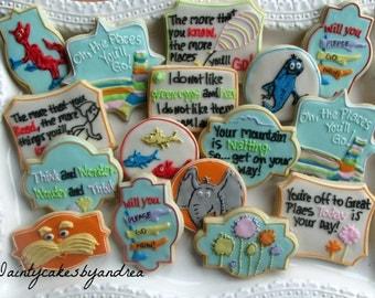 1 dozen Dr. Seuss inspired decorated sugar cookies!