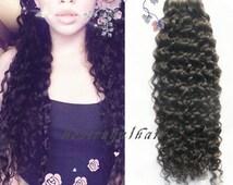 Curly Virgin Hair Extension Weft, 6A Quality 100% Human Hair bundle RHS302