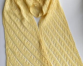 Hand knit yellow, silk,merino  scarf. Yellow long scarf, lace long scarf, yellow lace scarf, spring lace scarf.