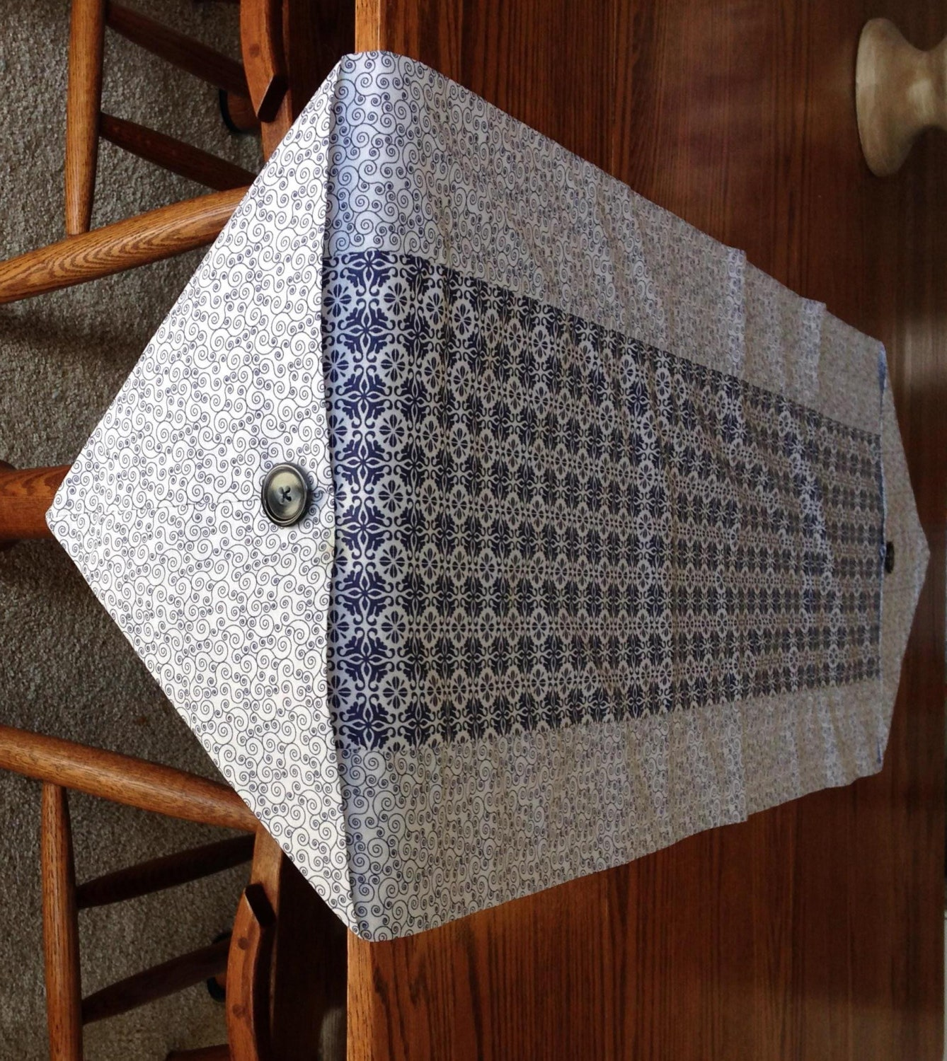 Xl Table Runner In Navy Blue And White Pattern Coffee Table