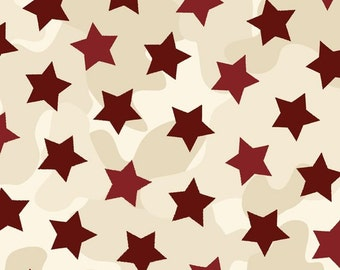 Homefront Girl, Be Strong, Be Brave Military Cotton Fabric Red Stars by Quilting Treasures
