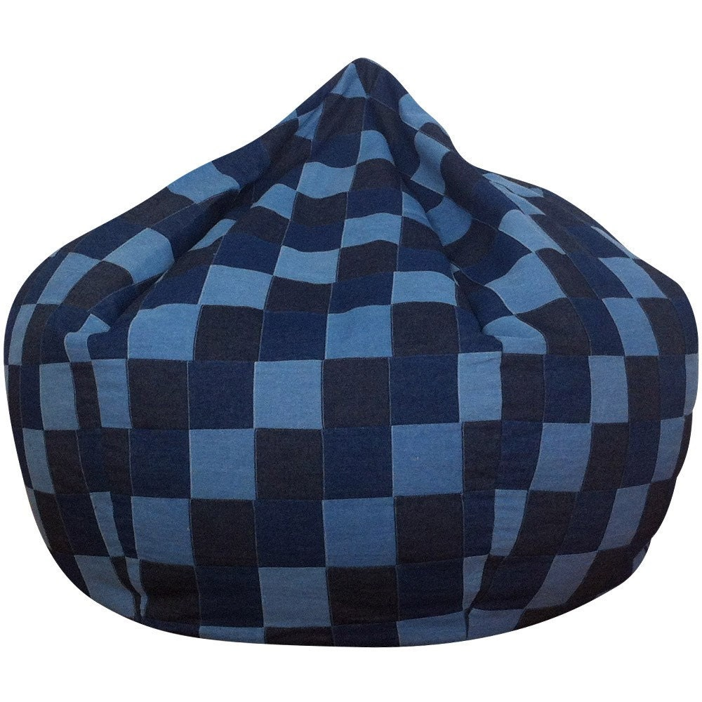 Blue Denim Patchwork Bean Bag