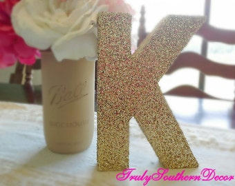 Gold Glitter Paper Mache Letter. Paper Mache Number. Personalized.  Table Decor.