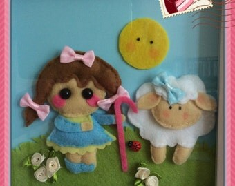 Little bo peep box frame picture
