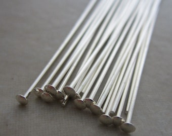 40 sterling silver headpins 2 inch 21 gauge