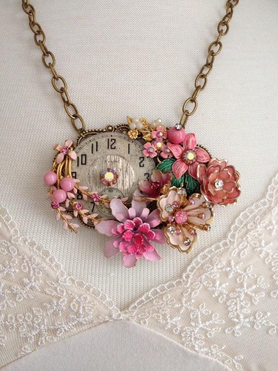 Repurposed vintage enamel flower necklace by VintageFrivolity