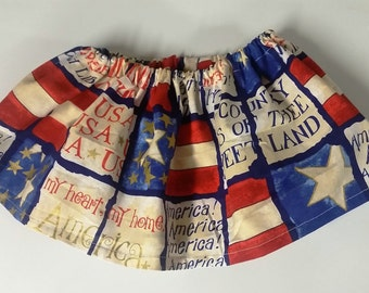 Girls Patriotic 4th of July Skirt, 12-18 month size (elastic waist band)