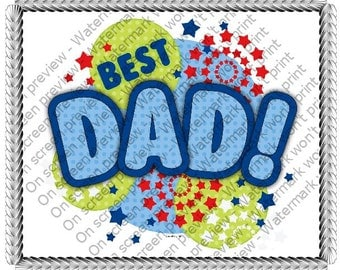 Happy Father's Day Best Dad Edible Cake or Cupcake Toppers - Choose Your Size