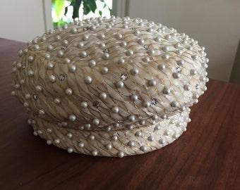 Vintage Dachettes' Pearl and Rhinestone Pillbox Hat