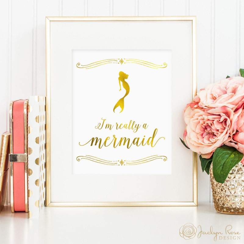 Photo wall decor tumblr : Mermaid print i m really a quote gold