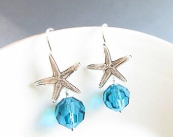 Starfish earrings, Aqua Swarovski earrings, 1 inch long, sterling silver, beach earrings, ocean earrings, blue earrings