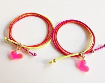 Teen Funky Bracelet, Red Elastic cord bracelet, Summer Jewelry, Elastic Cord Bangle, Handcrafted Bracelet, Double Neon pendant bracelet
