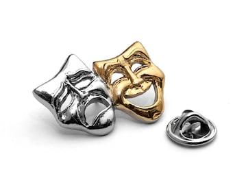 Comedy Tragedy Theatre Masks Pin Badge - Drama teacher student gift idea