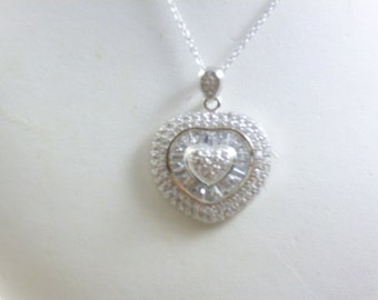 Silver Heart Necklace, Sterling Silver Heart Pendant, cz Necklace