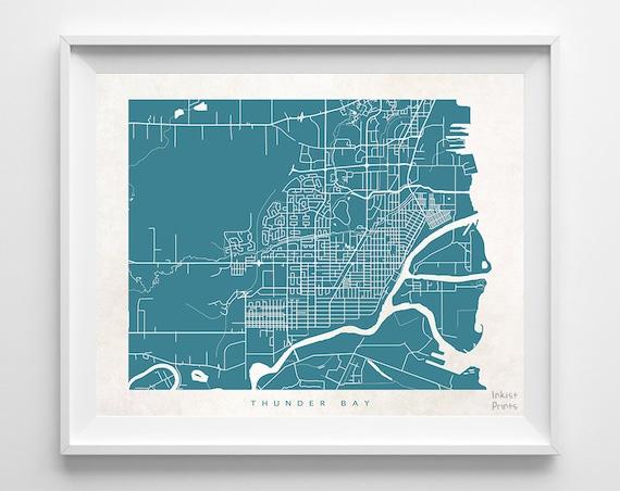 Thunder Bay Map Canada Print Thunder Bay Poster Canada