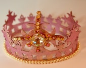 SALE - crown - pink tiara with vintage jewels - royal pink crown mixed media - altered art - one of a kind - handmade - pearl bordered crown