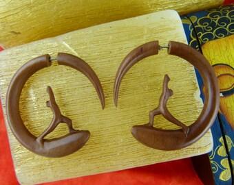 Warrior Earring Fake Stretchers Fake gauge - Warrior Yoga Earring Fake Plugs Wood Fake Stretch Ear Warrior - Looks like gauge ear *A045