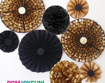 Black and Gold DIAMONDS with Glitter Party Fans | Pom Wheel | Rosettes | Paper Medallions | Weddings, Birthdays | Paper Pinwheel