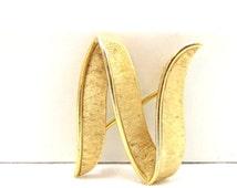 Crown Trifari Brooch, Letter N Pin, Vintage Brooch, Monogram Pin, Trifari Jewelry, Gold Tone Pin, Designer Signed, Vintage Costume Jewelry