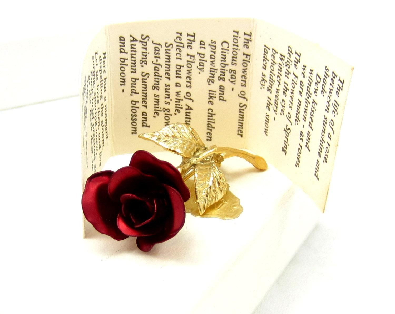 Giovanni Red Rose Brooch Gold Tone Pin by TreasureTrovebyTish