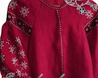 "Hand-Embroidered Ethni ""Bordo"" blouse"
