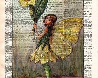 Vintage Flower Fairy art - Primrose Flower Fairy - Fairy art print,  Dictionary print art