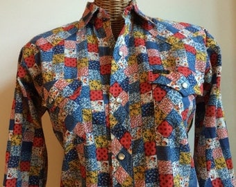 Patchwork print cowboy shirt S or XS
