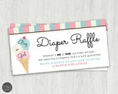 Diaper Raffle/ Ice Cream Theme/ Gender Reveal/ Baby Shower/ Instant Download