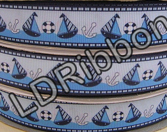 """7/8"""" Sailboat Grosgrain Ribbon"""