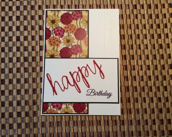 Handmade Greeting Card:  Happy Birthday card with flowered pattern paper