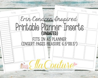 Weekly Planner Printable Inserts: Erin Condren Inspired