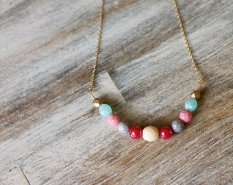 Summer Colorblock Bead Statement Necklace