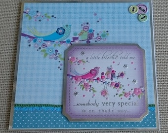 "Handmade 5"" x 5"" Square Greeting Card - New Baby"