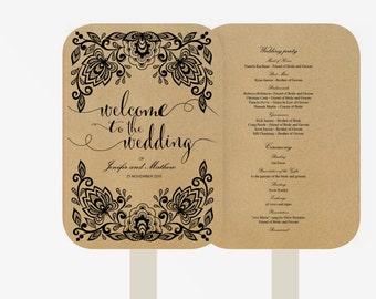 Wedding Fan Program Template | Printable Instant Download  | DIY | lace black |  Kraft