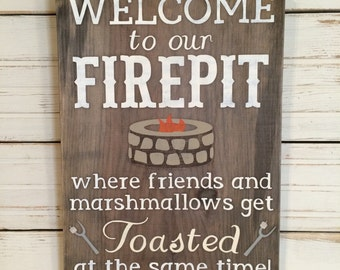 WELCOME to our FIREPIT wood rustic sign