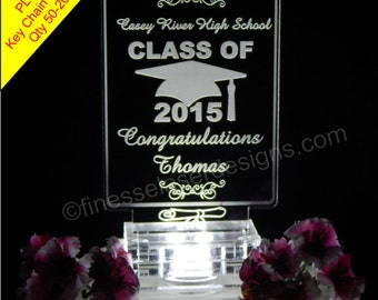 200 Favors + Graduation Cap & Scroll Cake Topper CLASS OF 2015 Key Chain Acrylic LED lighted