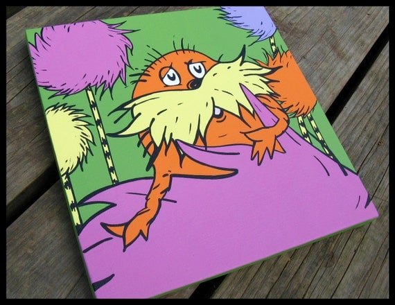 the lorax 12x12 dr seuss canvas wall art by blissfulbrush. Black Bedroom Furniture Sets. Home Design Ideas