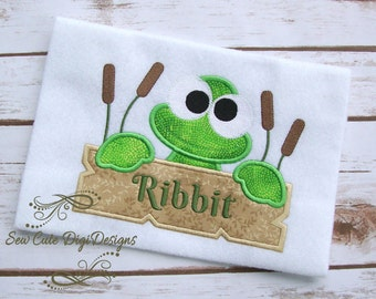 Ribbit - Cute Frog Applique Design