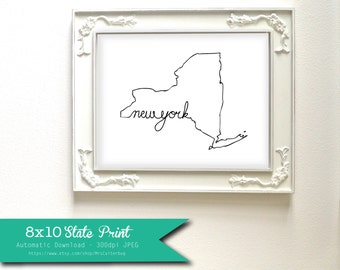 Printable New York State Art Print 8x10 Digital Wall Art Gift