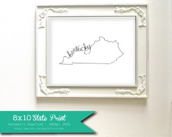 Printable Kentucky State Art Print 8x10 Digital Wall Art Gift