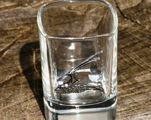 Pair of Bat Pipistrelle Shot Glasses Crystal with Pewter Motifs