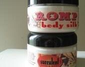 Valentine's Day jasmine + musk Body Silk Lotion, Romp, 4 oz. with pure silk protein, organic aloe vera, coconut oil