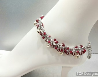 Shaggy Loops Chainmaille BDSM Slave Bells Anklet, Belly Dance Bells Anklet, Garnet Red