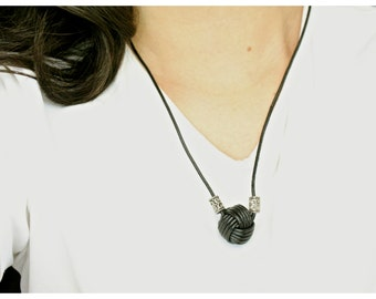 Monkey Fist LEATHER NECKLACE!
