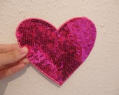 4 large pink love heart patch sequin applique iron on sew on hotfix 14 x 13cm