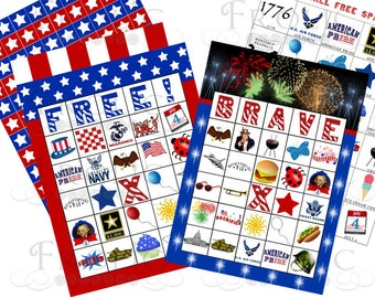 4th of July Bingo 20 Printable Cards INSTANT DOWNLOAD