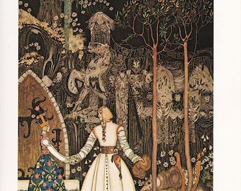 Norwegian folk tale fairy tale inches East of the Sun, West of the Moon Kay Nielsen vintage art nouveau print illustration 8.5x11.5 inches