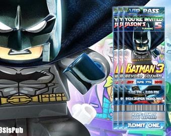 Lego Batman Birthday Party Invitation, Lego Batman Invitation - Gotham, Batman, Joker, Robin, lego