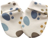 100% Cotton Newborn Baby Anti Scratch Mittens Gloves, Pattern Multi-Color Foot, 0-3 Months
