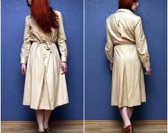 Long sleeve light brown polyester vintage dress. Size M/L